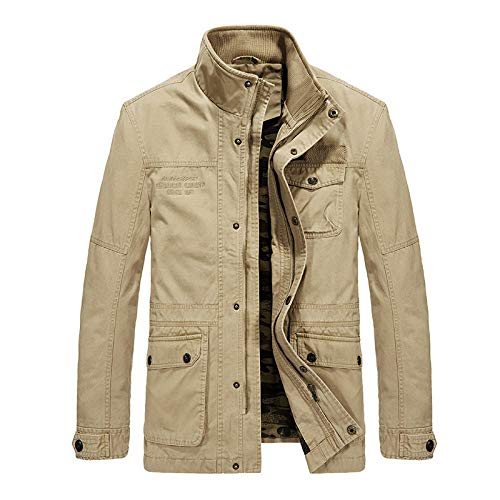 Mens Coat Long Jacket Slim Fit Long Sleeve Casual Lightweight Jacket Large size men's jacket multi-pocket-khaki_L
