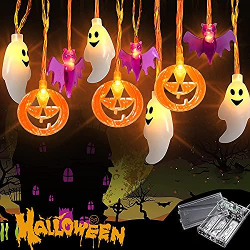 Luci Stringa Halloween, 3M 20 LED Zucca di Luci Stringa Catena Luminosa Alimentata con Batteria, Luci LED Halloween Zucche arancioni, pipistrelli viola, fantasmi blu Luci a Corde