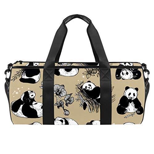 LAZEN Hombro Handy Sports Gym Bags Travel Duffle Totes Bag para hombres, mujeres, pandas gigantes y flores de orquídeas