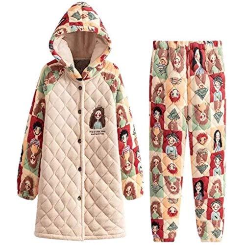 ZHANG Pijamas Suaves para Mujer con Estampado de Dibujos Animados Homewear, Conjunto de Ropa de Dormir de Franela de 3 Capas de Engrosamiento Cálido de Invierno para Mujer,Medium