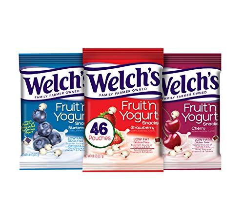 Welch's Fruit Snacks, Fruit 'n Yogurt Variety Pack Strawberry, Blueberry & Cherry, Gluten Free, Bulk Pack, 0.8 oz Individual Single Serve (Pack of 46)