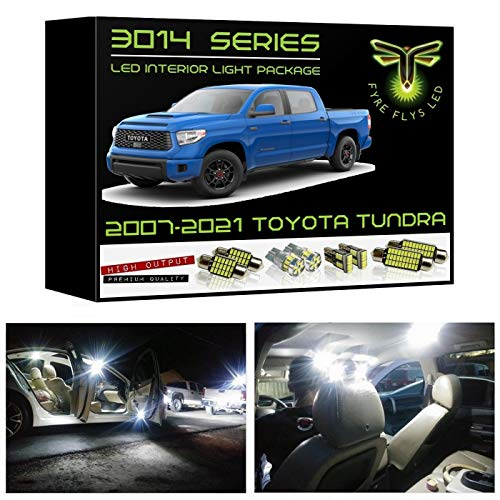 Fyre Flys 18 Piece White LED Interior Lights for 2007-2021 Toyota Tundra Super Bright 6000K 3014 Series SMD Package Kit and Install Tool