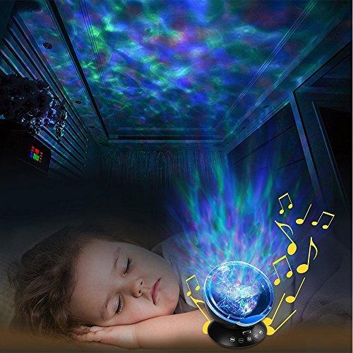 KBAYBO Proyector de ondas oceánicas con control remoto, 12 LED y 7 colores, proyector de luz nocturna con mini reproductor de música integrado para sala de estar y recámara (negro)