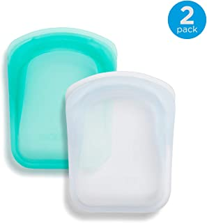 Stasher 100% Silicone Reusable Bags, Pocket Storage Size, 4.5-inch (4-ounce), Set of 2, Clear + Aqua