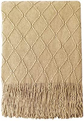 Best Bourina Throw Blanket Textured Solid Soft Sofa Couch Decorative Knitted Blanket, 50