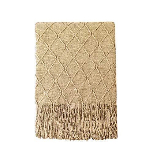 Bourina Throw Blanket Textured Solid Soft Sofa Couch Decorative Knitted Blanket, 50' x 60', Mustard