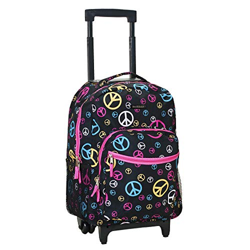 Rockland Double Handle Rolling Backpack, Peace, 17-Inch