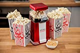 WICKED GIZMOS Red Electric 1200W Retro Popcorn Maker - Make Delicious Healthy Fat Free Hot Air Popped Cinema Popcorn at home in just 3 minutes – Complete with 6 Serving Boxes and Butter Scoop