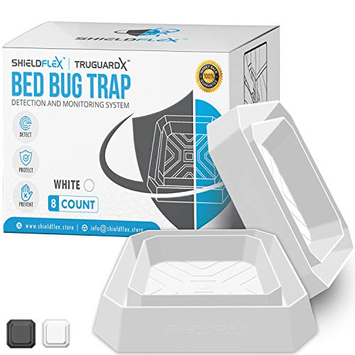 Bed Bug Trap — 8 Pack | TruGuard X Bed Bug Interceptors White | Eco Friendly Bed Bug Traps for Bed Legs | Reliable Insect Detector Interceptor and Monitor for Pest Control and Treatment