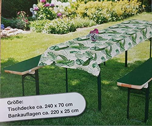 Bier Bankauflage 3-TLG. Set I Inkl. Tischdecke 240 x 70cm I Trendfarben grün Blumen I Bierbankauflage I Auflagen Set für Gartenmöbel Bierbänke und Tische I Erfüllt ÖKO Tex ® 100 Standard