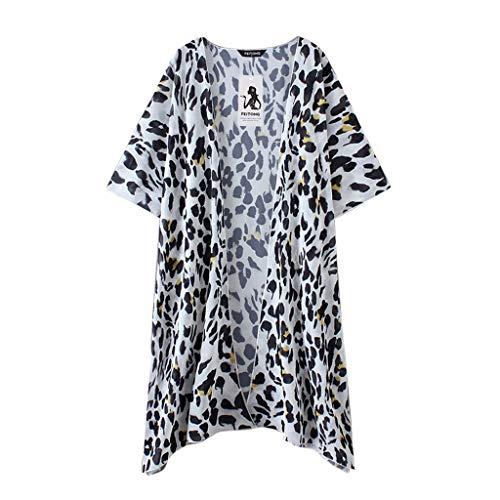 Aiserkly Damen Leopardenmuster Chiffon Kimono Lange Strickjacke Bluse Schal Lose Tops Outwear