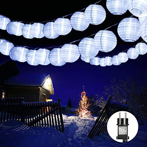 Qedertek 30er LED Lampion Lichterkette Außen, 10.15m Lichterketten Lampion mit Stecker, Gartenlaterne Lichterkette Wasserdichte für Balkon, Terrasse, Party, Hochzeit, Weihnachten (Weiß)