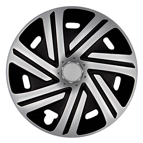 CM DESIGN 14 Zoll Bicolor Radzierblenden CYRKON (Silber/Schwarz). Radkappen passend für Fast alle OPEL wie z.B. Corsa C