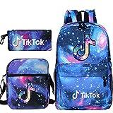 Travel TIK Tok Girls School Casual Daypacks Set Mochila Escolar para Estudiantes + Bolso pequeño + Bolso para bolígrafo Conjunto de Tres Piezas V-6