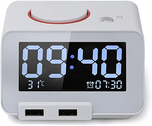 Digital Alarm Clock Alarm Clock For Bedrooms With Battery Backup And Snooze White