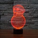 FairOnly Weihnachten Schneemann 3D Visuelle Illusion Lampe Transparent Acryl Nachtlicht LED Lampe 7 Farbwechsel Touch Tischlampe Kinder Lava Lampe Mehrfarbig USB/Batteriefach Touch Base