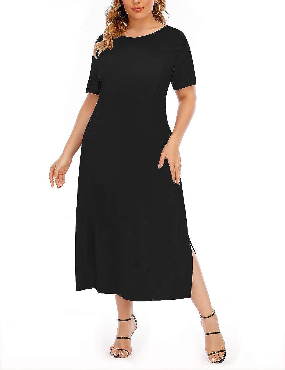 Aksbgg Women's Casual Short Sleeve Long Dress Floral Leopard Print Plus Size Maxi Tie Dye Dresses 1X-4X