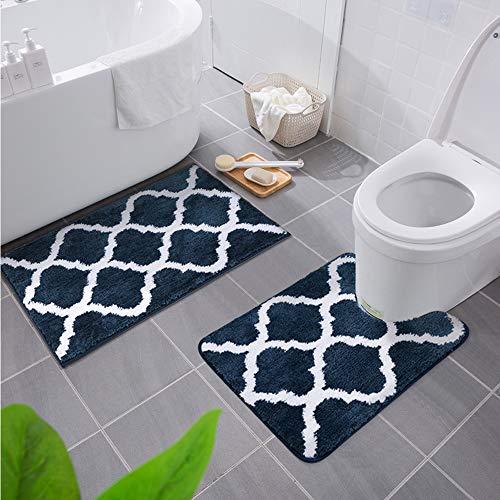 Homaxy rutschfest Badematten Set 2 teilig Weich Hochflor Bad WC Badezimmerteppich Set Mikrofaser Badvorleger Set 2teilig –Marine Blau