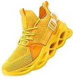 Aardimi - Zapatillas de deporte para hombre, transpirables, antideslizantes, para gimnasio, fitness o correr por la calle, color Amarillo, talla 41 EU