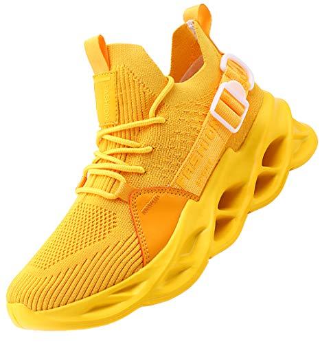 AARDIMI Herren Laufschuhe Fitness straßenlaufschuhe Sneaker Sportschuhe atmungsaktiv Anti-Rutsche Gym Fitness Schuhe (Gelb, Numeric_43)