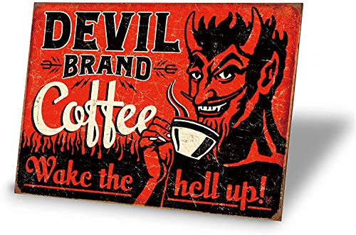 no brands Devil Brand Coffee Wake The Hell Up Retro Vintage Bar Signs Vintage, 8x12 Inch