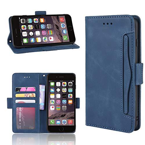 Snow Color Cover iPhone 8 Plus/7 Plus Portafoglio, Flip Custodia Portafoglio in PU,[Funzione Staffa]con Slot per Schede e Chiusura Magnetica per Apple iPhone 8Plus/7Plus - COBYU020023 Blu