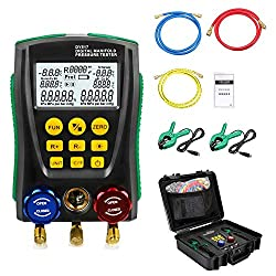 DY517A Refrigeration Digital Manifold HVAC System Gauge Set, High-Precision Vacuum Pressure Temperature Leakage Tester Dignostic Meter Kit for Refrigeration System Installation and Commissioning