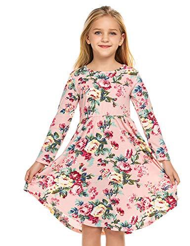 Bricnat Mädchen festlich Kleid Mädchen Kleid Blumen Kleid A Linie Retro Gedruckt Schlittschuhläufer Kleider O-Ausschnitt Kurze Ärmel Frühling Sommer Kleid 120 6-7 Jahre