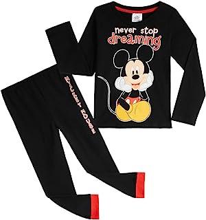 Disney Mickey Mouse Pijama Niño, Pijamas Niños 100% Algodon, Conjunto Pijama Niño Invierno de Manga Larga, Regalos para Ni...