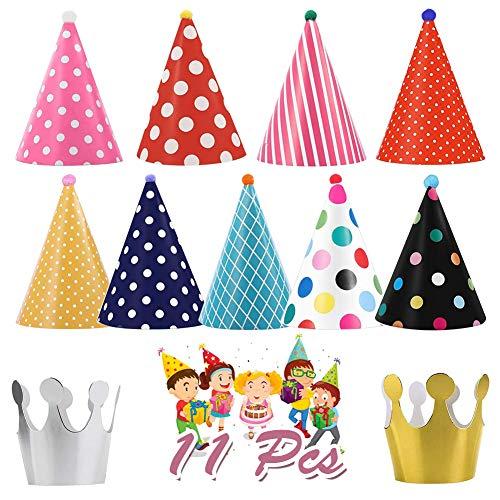 Partyhüte Geburtstag, 9Pcs Geburtstagshut Partyhut Kegel Hüte mit Pom Poms/Elastische Schnur und 2Pcs Geburtstag Krone, Papier Party Hüte für Kinder Erwachsene Geburtstag Weihnachten Neujahrsfeier