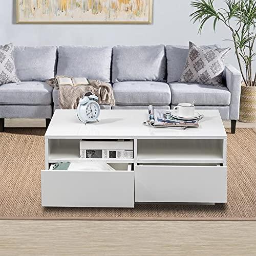 Cikonielf - Tavolino da salotto con 4 cassetti, colore: Bianco lucido