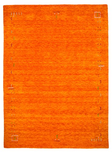 Morgenland Gabbeh Teppich FENTH Orange Einfarbig Muster Schurwolle 240 x 80 cm Läufer