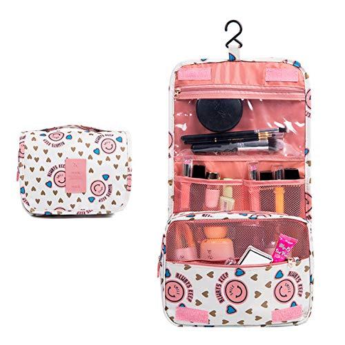 Trousse de maquillage Imperméable Portable Polyester Sac cosmétique Voyage Pendaison Trousse de toilette Neutre Make Up Bag Organisateur Salle de bain Trousse de toilette,Pink smiley