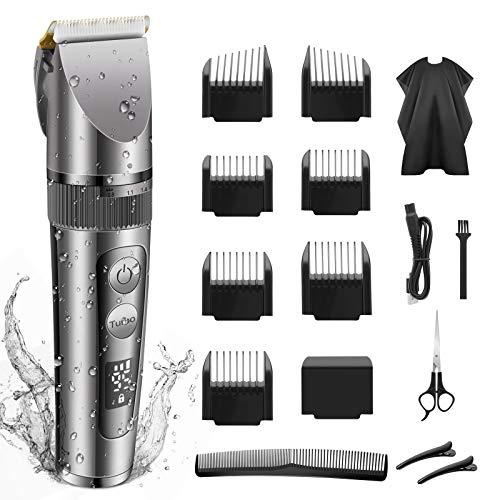 NWOUIIAY Haarschneidemaschine IPX6 profi Elektrische Haarschneider Wasserdicht Langhaarschneider und Bartschneider mit LCD Anzeige für Kinder Familien Titan Keramikklinge Leise 7 Aufsteckkämme