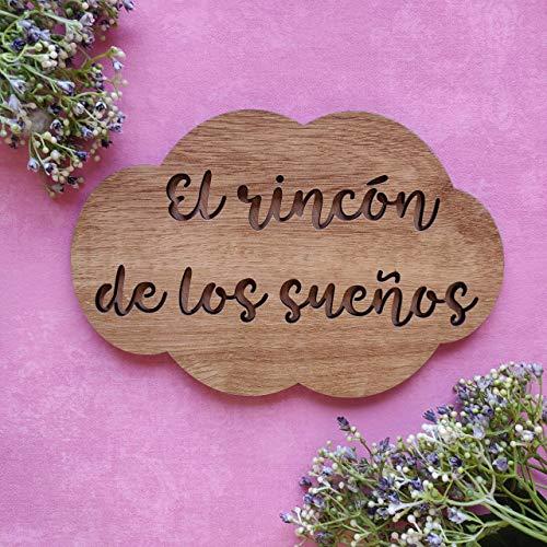 Placa cartel de madera en forma de nube personalizada con la frase que quieras, regalos originales y únicos, decoraciones de pared como póster/Adhesivo vinilo de pared para instalar fácilmente
