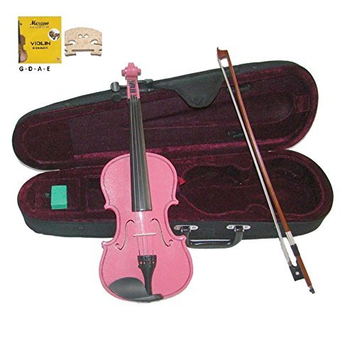Merano MV300PK 3/4 Size Pink Violin with Case and Bow+Extra Set of...