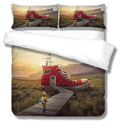 NBSZZDKL Duvet Cover Set King,Creative house Printing 3 pcs Bedding Sets with Zipper Closure 230x220cm with 2 Pillow Cover 50x75cm Ultra Soft Hypoallergenic Microfiber Quilt Cover
