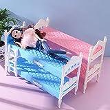 EPRHAN 2 PCS Camas de Muñeca Mini Litera de Plástico Dormitorio Muebles Accesorios de Cama Doble Conjunto Modelo Casa de Muñecas Juguetes Niños Niños Juguete Niñas Regalo