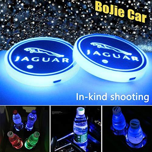 2pcs LED Car Jaguar Logo Cup Holder Lights for Jaguar, 7 Colors Changing USB Charging Mat Luminescent Cup Pad, LED Interior Atmosphere Lamp Decoration Light. (Jaguar)