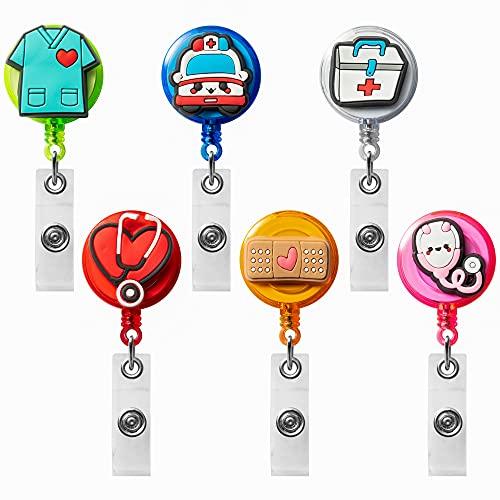 VERSRH 6PCS Nurse Retractable Badge Holder, Badge Reels Retractable for Nurses, Badge Holder Reel Clip, Cute Nurse Badge Holder, Name ID Card Badge Clips Retractable for Kids Office Staff Student
