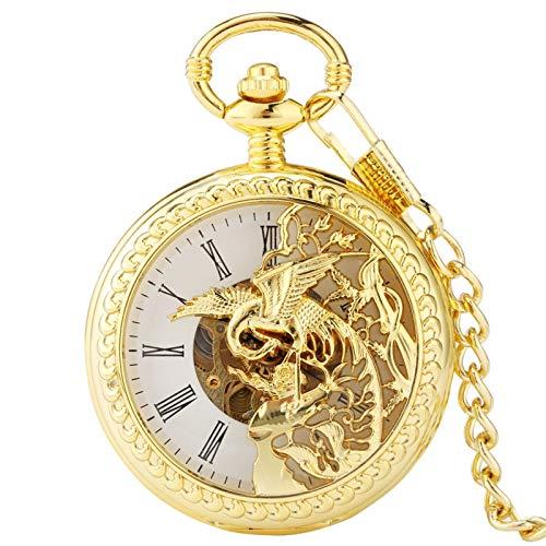 ZIYUYANG Reloj de Bolsillo,Reloj de Bolsillo mecánico de Aire deDobleCubiertaDorado, Reloj de Cuerda para Hombres y Mujeres Dorado