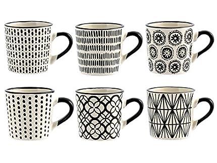 H&H Vhera, Juego de 6 tazas de café, color blanco y negro, 90ml
