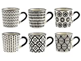 H&H H & H vhera Set 6 coffee cups, Stoneware, White/Black, 90 ml