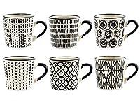 h&h vhera set 6 tazzine caffè, stoneware, bianco/nero, 90 ml, modelli assortiti