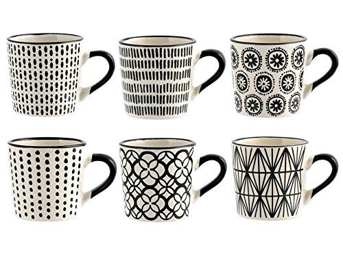 H&H Vhera Lot de 6 tasses à café Stoneware, blanc/noir, 85 ml, modèles assortis