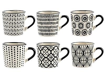 H&H Vhera - Juego de 6 tazas de café, Stoneware, blanco/negro, 90 ml