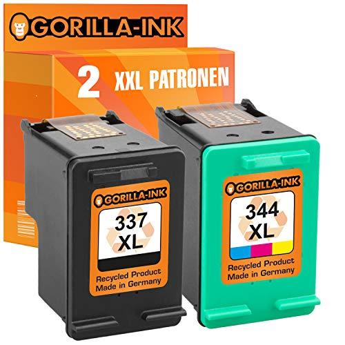 Gorilla-Ink - Juego de cartuchos de tinta compatibles con 1x HP 337 XL y 1x HP 344 XL DeskJet 5940 5950 6940 6980 6985 6988 Officejet 100 150 Mobile H470 Pro K7100