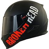 Broken Head BeProud Rot Ltd - Schlanker Motorradhelm Mit Schwarzem Zusatz-Visier - Matt-Schwarz -...