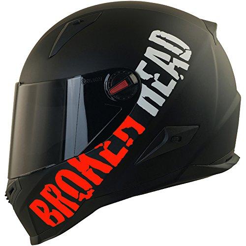 Broken Head BeProud Rot Ltd - Schlanker Motorradhelm Mit Schwarzem Zusatz-Visier - Matt-Schwarz - Größe L (59-60 cm)
