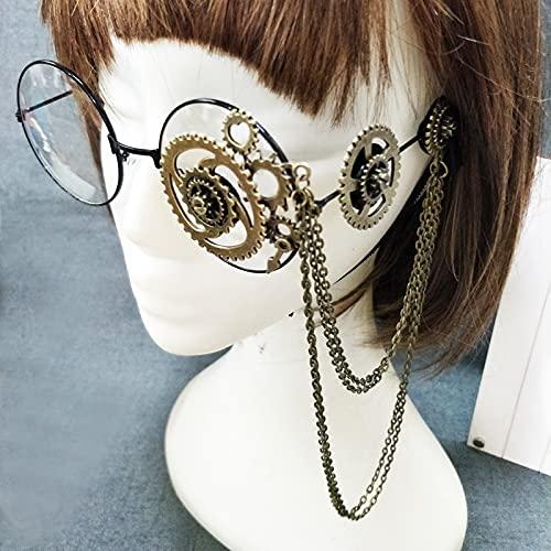 PPuujia Gafas marco de cadena retro mujeres redondo steampunk gafas marco señoras Lolita engranajes cadena decoración gafas punk gótico Cosplay Accesorios Halloween